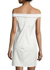 Halston Heritage Off-The-Shoulder Lace-Up Cocktail Dress