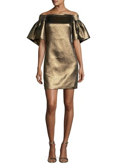 Halston Heritage Off-the-Shoulder Metallic Full-Sleeve Cocktail Dress