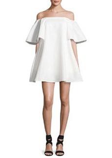 Halston Heritage Off-the-Shoulder Metallic Jacquard Cocktail Dress
