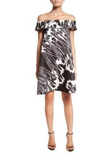 Halston Heritage Off-the-Shoulder Printed Cocktail Dress