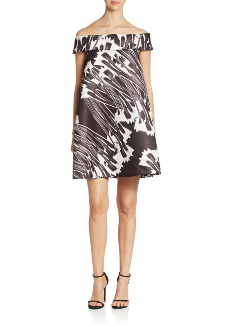 Halston Heritage Off-The-Shoulder Printed Trapeze Dress