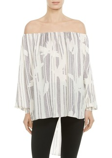 HALSTON HERITAGE Off-the-Shoulder Printed Tunic
