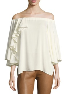 Halston Heritage Off-the-Shoulder Ruffled Silk Georgette Blouse