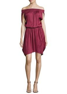 Halston Heritage Off-the-Shoulder Satin Dress