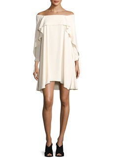Halston Heritage Off-the-Shoulder Shift Dress w/ Flounce Detail