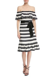 Halston Heritage Off-the-Shoulder Striped Dress w/ Tie Waist