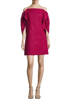 Halston Heritage Off-the-Shoulder Structured-Sleeve A-Line Cocktail Dress