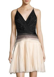 Halston Heritage Ombré V-Neck Sleeveless Dress