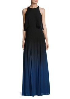 Halston Heritage Ombre Floor-Length Silk Dress
