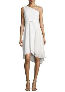 Halston Heritage One-Shoulder Asymmetric Belted Dress