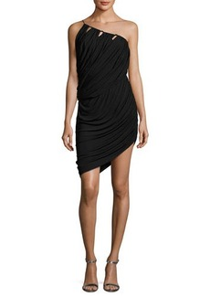 Halston Heritage One-Shoulder Asymmetric Draped Jersey Short Dress