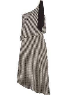Halston Heritage One-shoulder asymmetric striped crepe midi dress