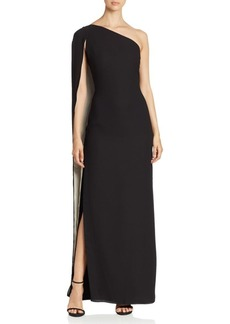 Halston Heritage One-Shoulder Cape Gown