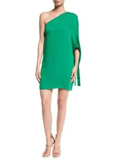 Halston Heritage One-Shoulder Crepe Mini Dress