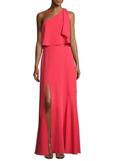 Halston Heritage One-Shoulder Crepe Popover Gown