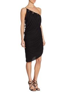 Halston Heritage One-Shoulder Drape Dress