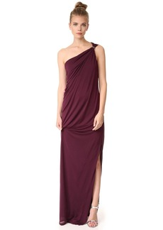 Halston Heritage One Shoulder Draped Jersey Gown with Slit