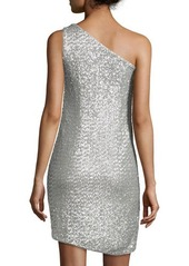 Halston Heritage One-Shoulder Draped Sequined Cocktail Dress