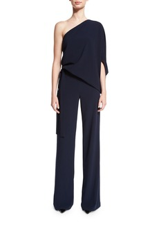 Halston Heritage One-Shoulder Draped Stretch Crepe Jumpsuit
