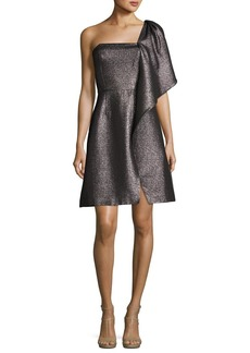 Halston Heritage One-Shoulder Fit-and-Flare Shimmer Knit Cocktail Dress