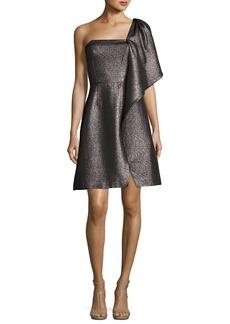 Halston Heritage One-Shoulder Fit-and-Flare Shimmer Knit Cocktail Dress