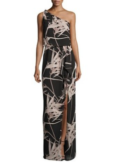 Halston Heritage One-Shoulder Floral Chiffon Gown