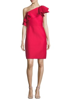 Halston Heritage One-Shoulder Flounce Dress