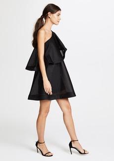 Halston Heritage One Shoulder Flounce Stripe Mesh Dress
