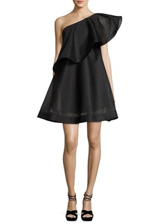 Halston Heritage One-Shoulder Flounce Striped Mesh Cocktail Dress