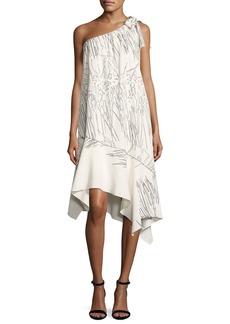 Halston Heritage One-Shoulder Flowy Printed Shift Dress