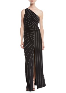 Halston Heritage One-Shoulder Gown w/ Chain Piping