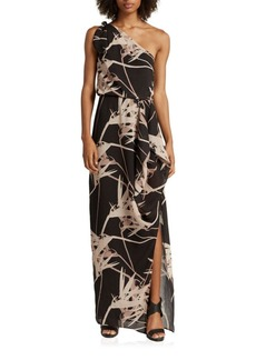 Halston Heritage One-Shoulder Graphic Printed Gown