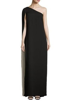 Halston Heritage One-Shoulder Grecian Cape Gown