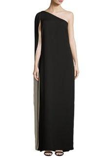 Halston Heritage One-Shoulder Grecian Cape Gown