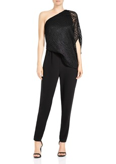 HALSTON HERITAGE One-Shoulder Lace Jumpsuit