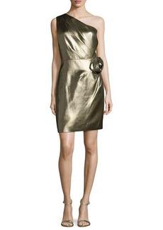 Halston Heritage One-Shoulder Metallic Dress