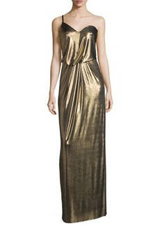 Halston Heritage One-Shoulder Metallic Jersey Column Dress