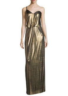 Halston Heritage One-Shoulder Metallic Jersey Column Dress