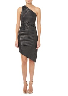 Halston Heritage One-Shoulder Metallic Jersey Dress