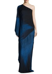 Halston Heritage One-Shoulder Ombre Gown