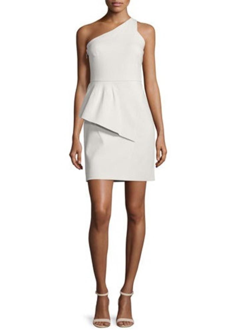 Halston Heritage One-Shoulder Peplum Dress
