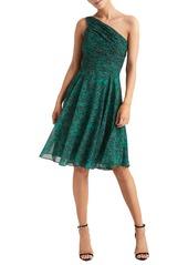 Halston Heritage One-Shoulder Pleated Cocktail Dress