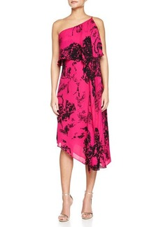 Halston Heritage One-Shoulder Printed Asymmetric Dress