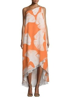 Halston Heritage One-Shoulder Printed Gown
