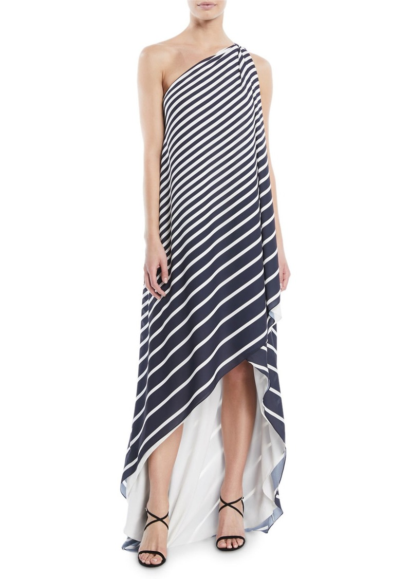 Halston Heritage One-Shoulder Printed Stripe Wrap Gown