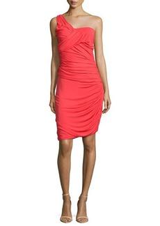 Halston Heritage One-Shoulder Ruched Cocktail Dress