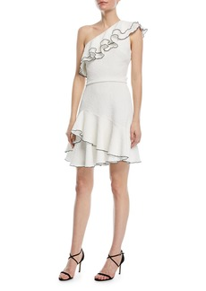 Halston Heritage One-Shoulder Ruffle Mini Dress