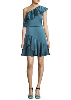 Halston Heritage One-Shoulder Ruffled Satin Cocktail Dress