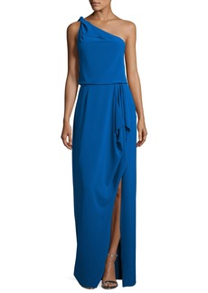 Halston Heritage One-Shoulder Stretch Crepe Evening Gown
