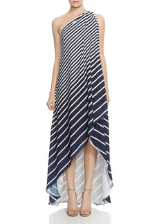 HALSTON HERITAGE One-Shoulder Striped Gown